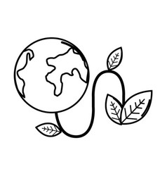 Figure planet with power cable and leaves vector