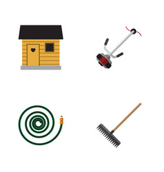 Flat icon dacha set of grass-cutter hosepipe vector