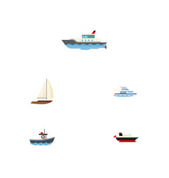flat icon vessel set of cargo boat transport and vector image vector image