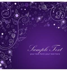 Floral twirl postcard blue vector image vector image
