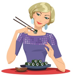 Girl enjoying sushi vector