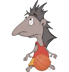 Hedgehog the basketball player vector image vector image