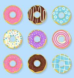 Icon set of sweet tasty donuts in glaze vector image vector image