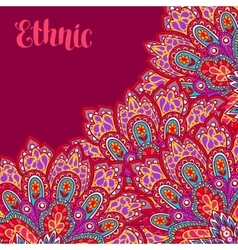Indian ethnic background with hand drawn ornament vector image vector image