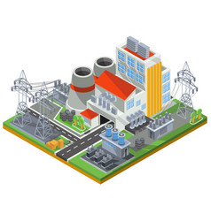 isometric of a thermal power vector image vector image
