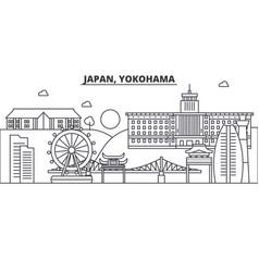 Japan yokohama architecture line skyline vector