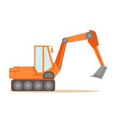 Large orange excavator machine part of roadworks vector