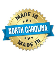 made in North Carolina gold badge with blue ribbon vector image