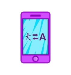Mobile app with translator icon cartoon style vector