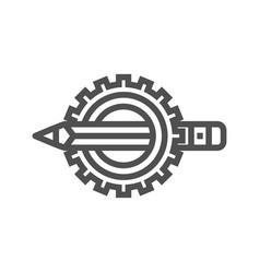 pensil with gear line icon vector image vector image