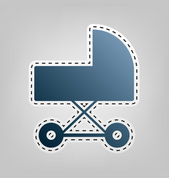 Pram sign blue icon with vector