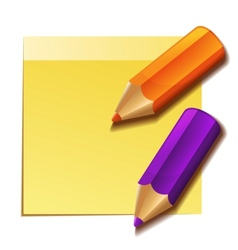 Realistic yellow stick note and two color pencils vector image