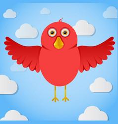 Red cartoon birdin the sky vector