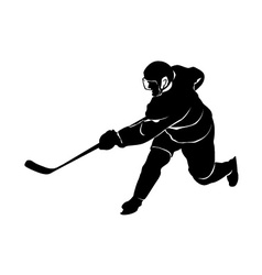 Silhouette of a hockey player vector image vector image