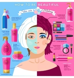 Skincare makeup beauty infographics poster vector image