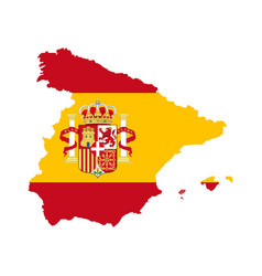 Spain map with spain flag inside vector