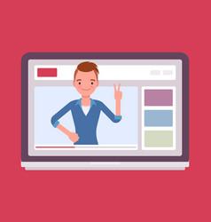 Videoblogger on a screen vector