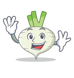 waving turnip character cartoon style vector image vector image