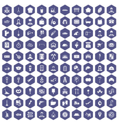 100 working professions icons hexagon purple vector