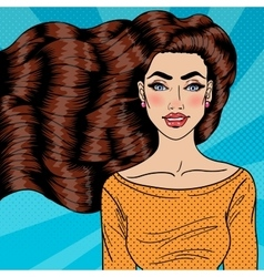 Young woman with health long hair pop art vector