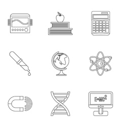 Scientific research icons set outline style vector