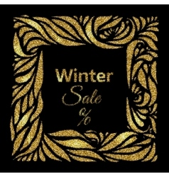 Winter sale gold frame vector