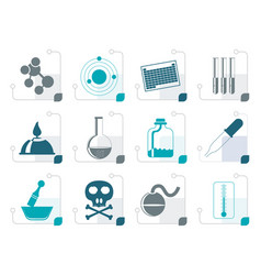 Stylized chemistry industry icons vector