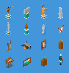 Museum isometric icons set vector