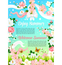 Summer flowers floral bouquets poster vector