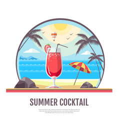 Flat style design of summer cocoktail vector