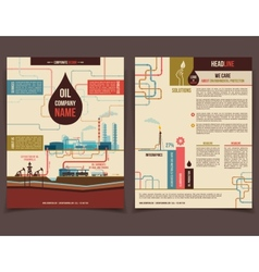 Oil company corporate flyer vector
