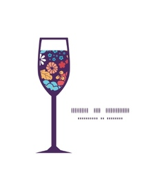 Colorful bouquet flowers wine glass silhouette vector