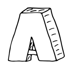 English alphabet - hand drawn letter A vector image