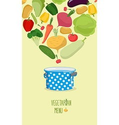Vegetarian menu cook vegetables in the pan vector
