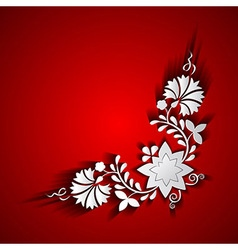 Abstract paper floral ornament on red background vector