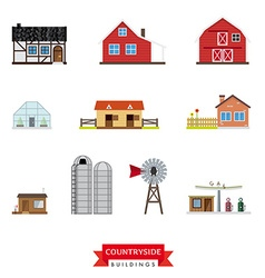 Countryside buildings set vector