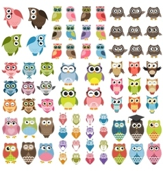 Funny Owls set vector image