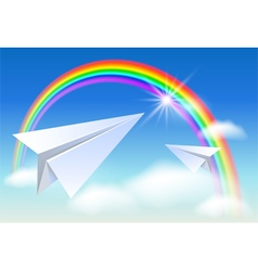 Two paper airplane and rainbow vector image