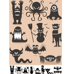 Silhouette monsters vector