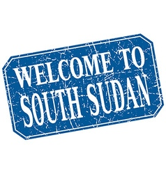 Welcome to south sudan blue square grunge stamp vector