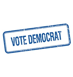Vote democrat blue square grungy vintage isolated vector