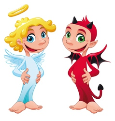 Baby angel and devil vector