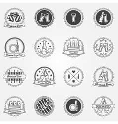 Beer labels or badges set - black logos vector image