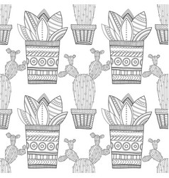 Black and white seamless pattern of ornamental vector