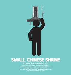 Black symbol small chinese shrine vector