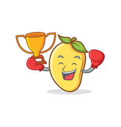 Boxing mango character cartoon mascot winner vector