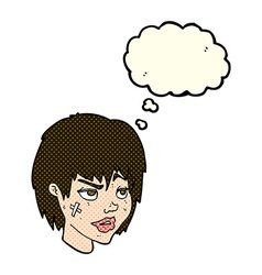 cartoon woman with plaster on face with thought vector image vector image