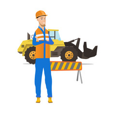 Confident caucasian builder with arms crossed vector
