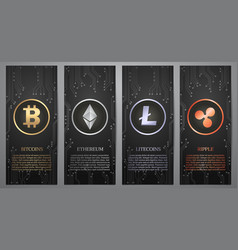 Cryptocurrency black banner vector