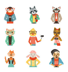 Cute humanized animals in modern and fashionable vector